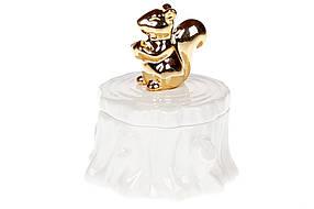 Декоративная мини-шкатулка Белочка на пеньке 10см, цвет - белый с золотом (727-212)