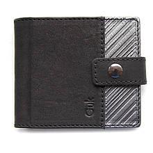 """Кошелек мужской кожаный на кнопке с карманом для монет """"STEEL"""" (Guk). Цвет черный"""