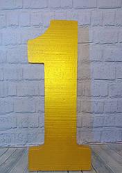 Золотая цифра 1 из пенопласта