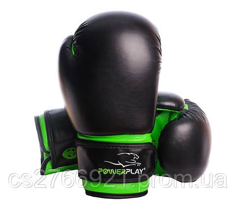 Боксерські рукавиці PowerPlay 3004 JR Чорно-Зелені, фото 2