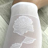 Гольфы белые капроновые Роза, боковой узор, 30 Den, 23-27 размер, 02751, фото 2