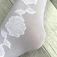 Гольфы белые капроновые Роза, боковой узор, 30 Den, 23-27 размер, 02751, фото 4