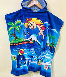 """Пончо детское махровое для купания с капюшоном """"Девочка и дельфин"""""""