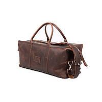 Дорожная сумка из натуральной кожи. Для ручной клади или спортзала. Коньячный (коричневый) цвет