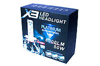 Н4 Led лампа Х3 с 3 цветофильрами 6000 люмен