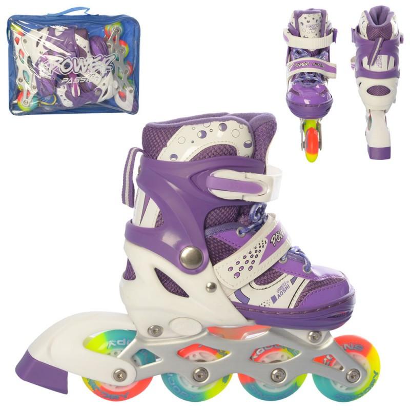 Ролики дитячі, 31-34 розсувні, шнурівка, бакля, алюмінієва рама, фіолетові, світло, в сумці, 44577