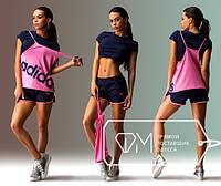 Женский спортивный костюм 3-ка Адидас  с шортами (розовый, желтый), фото 1