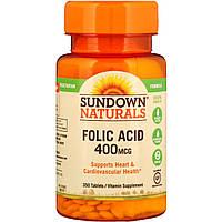 Фолиевая кислота, Sundown Naturals, 400 мкг, 350 таблеток