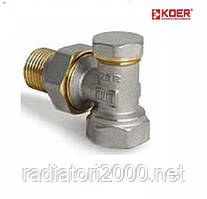 Вентиль радиаторный настроечный угловой 3/4 х 3/4 KOER (KR.902)