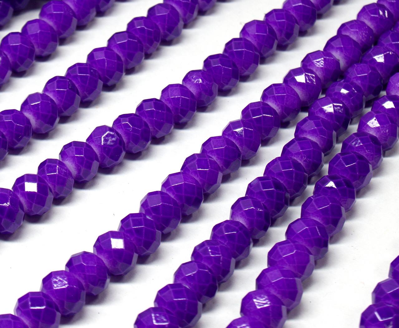 Бусины хрустальные (Рондель) 8х6мм  пачка - примерно 65 шт, цвет - фиолетовый кракелюр
