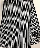 Турецкий мужской шарф с бахромой  в полоску