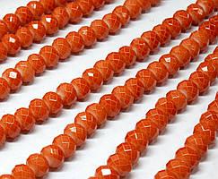 Бусины хрустальные (Рондель) 8х6мм  пачка - примерно 65 шт, цвет - терракотовый кракелюр