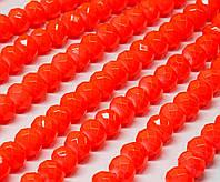 Бусины хрустальные (Рондель) 8х6мм  пачка - примерно 65 шт, цвет - неоновый оранжевый кракелюр