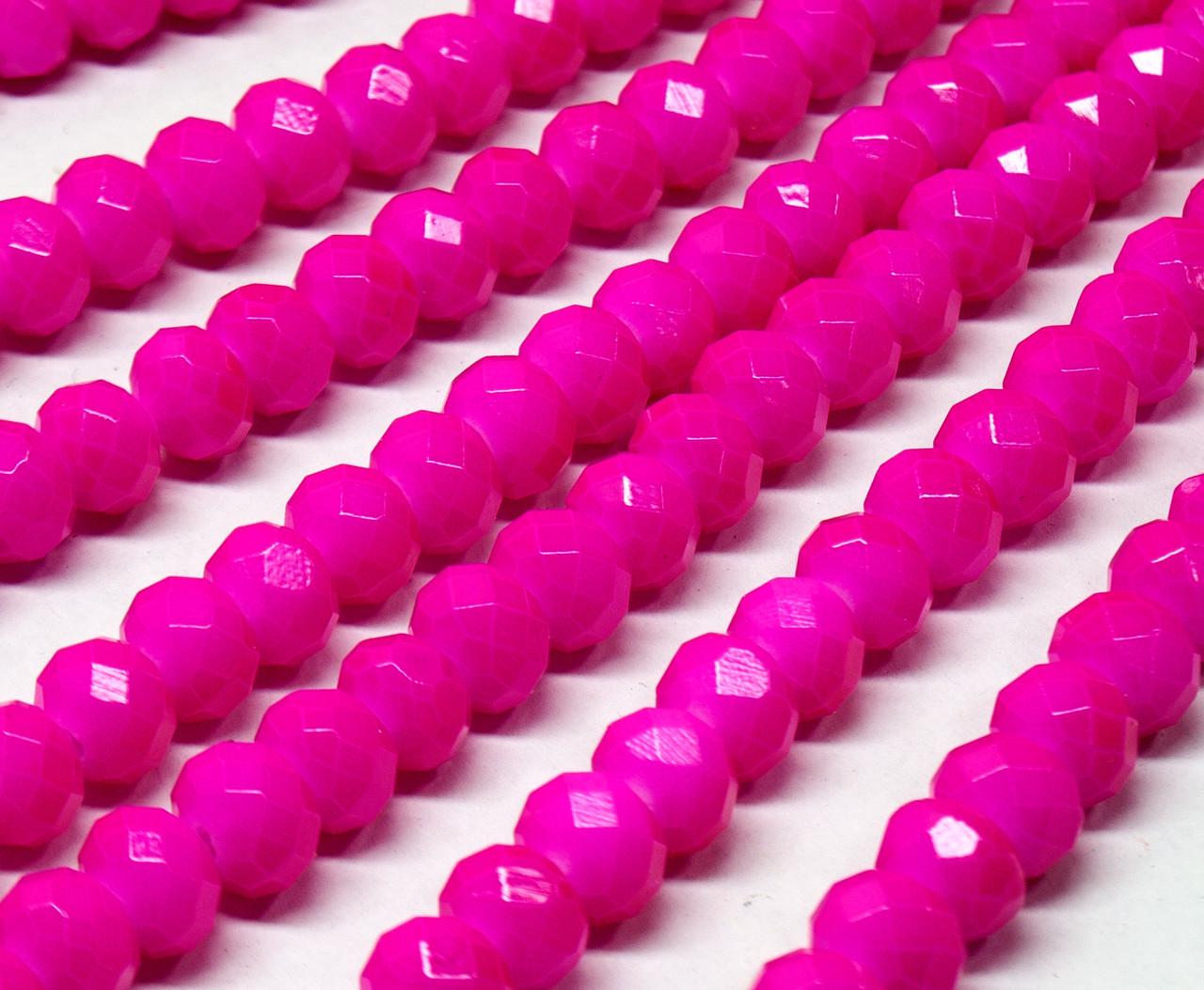 Бусины хрустальные (Рондель) 8х6мм  пачка - примерно 65 шт, цвет - малиновый кракелюр