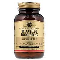 Биотин (Biotin), Solgar, 1000 мкг, 250 растительных капсул