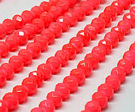 Бусины хрустальные (Рондель) 8х6мм  пачка - примерно 65 шт, цвет - коралловый кракелюр
