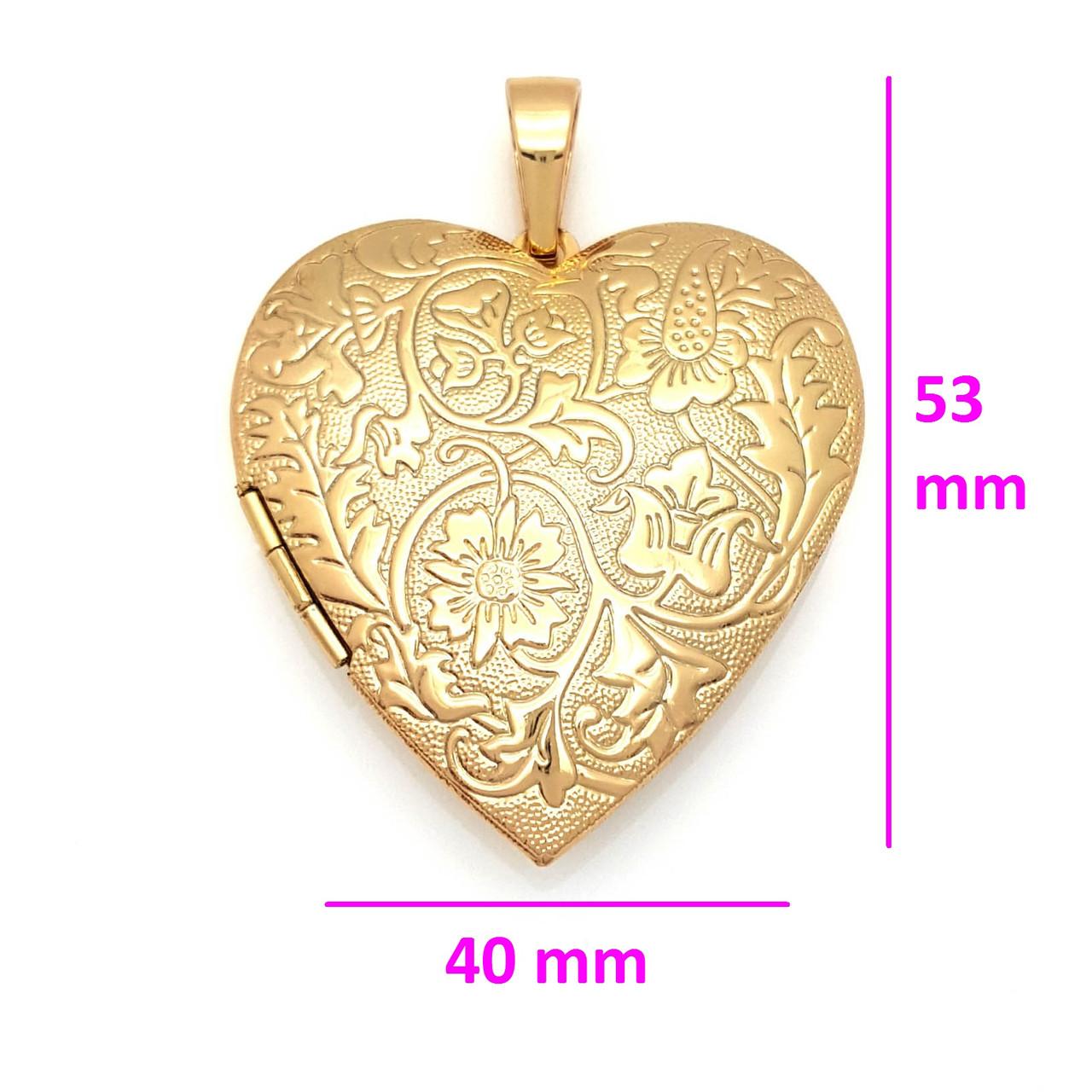 Кулон Сердце, с цветочным рисунком, открывающийся, позолота Xuping
