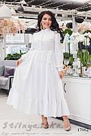 Нарядное белое расклешенное платье для полных , фото 1
