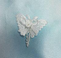 Бабочка  из ткани белая