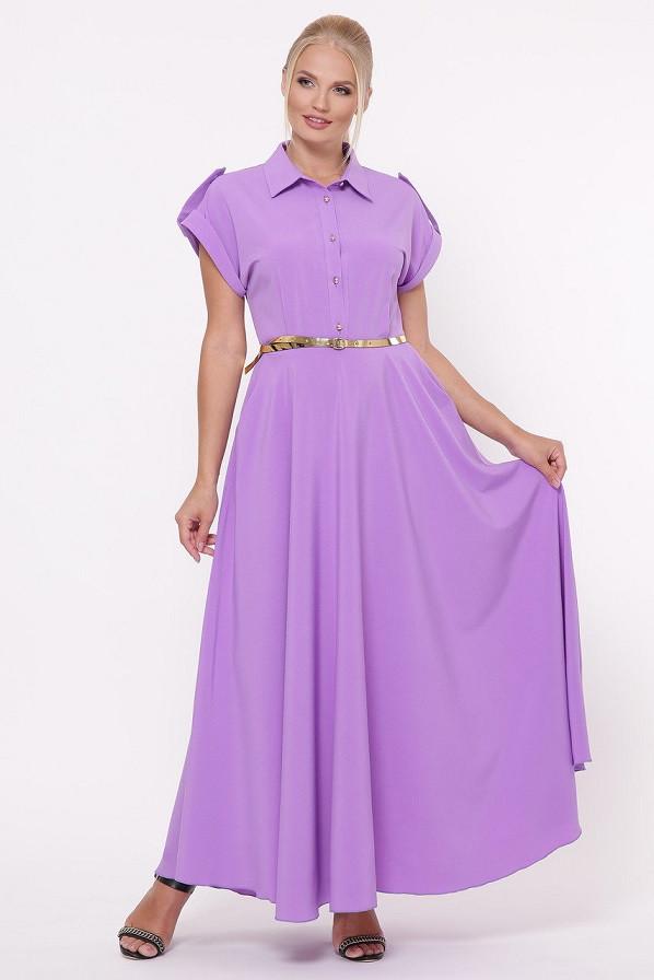 Красивое летнее платье в пол Алена лаванда (48-54)