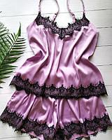 Элегантная женская пижамка розового цвета с мягким кружевом, фото 1