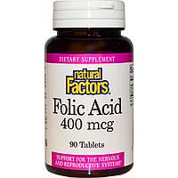 Фолиевая кислота, Natural Factors, 400 мкг, 90 таблеток