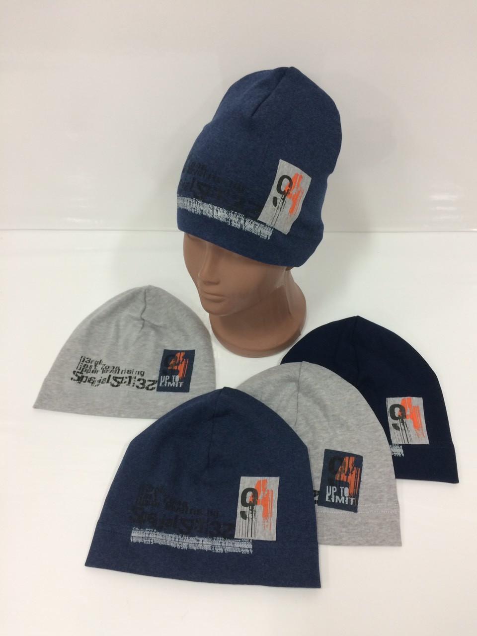 Детские демисезонные трикотажные шапки для мальчиков оптом, р.46-48 50-52, Ala Baby (Польша)
