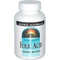 Фолиевая кислота, Source Naturals, 800 мкг, 500 таблеток