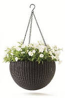 Горшок для цветов 8,6 л. Rattan style hanging sphere planter