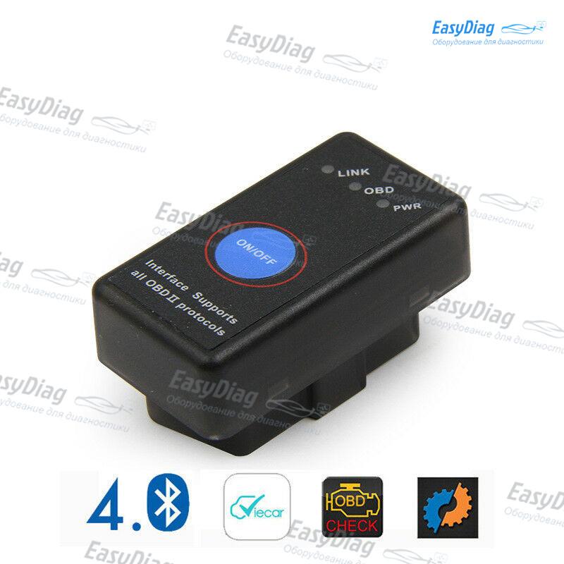 Сканер-адаптер Elm327 v1.5 Bluetooth 4.0 PIC18F25k80 с кнопкой OBDII  для Iphone, android   Leaf ZOE