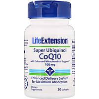 Life Extension, Super Ubiquinol CoQ10 для поддержки митохондрий, 100 мг, 30 мягких таблеток