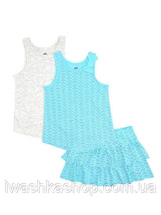 Летний комплект, костюм, две майки и юбка на девочек 4 - 6 лет, р. 110 - 116, H&M
