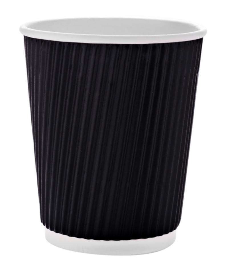 Стакан бумажный гофрированный 250мл черный 20шт/уп