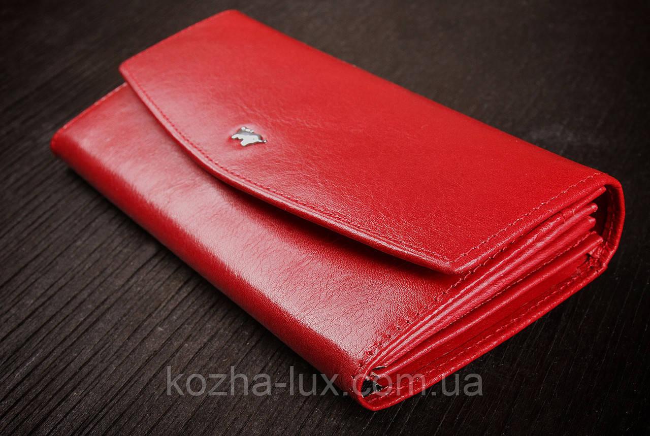 Гаманець жіночий шкіряний червоний, Braun Buffel без металу, натуральна шкіра