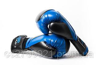 Боксерські рукавиці PowerPlay 3020 Синьо-Чорні [натуральна шкіра] + PU