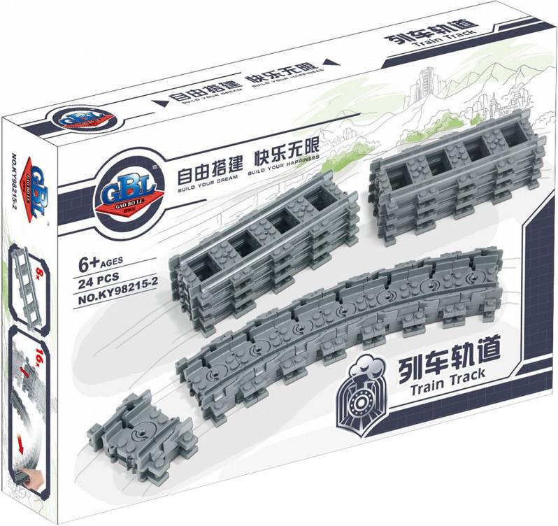 """Конструктор рельсы Kazi 98215-2 """"Гибкие и прямые пути"""" (аналог Lego 7499), 24 дет"""