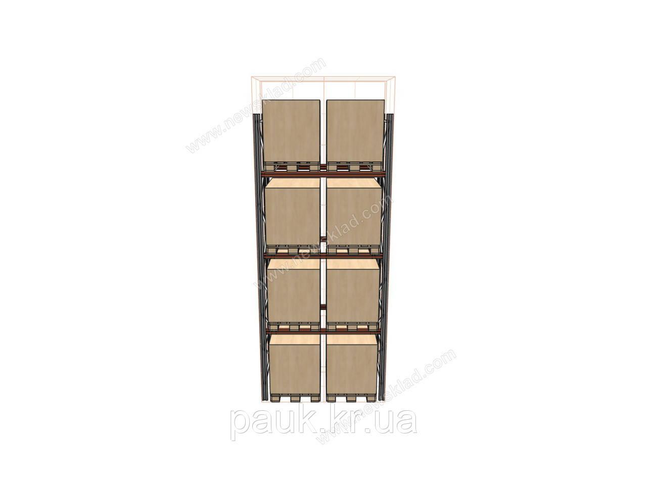 Стелаж фронтальний Н4500хL1800х1100 мм(пол.+3 рівня по 2400 кг на рівень)