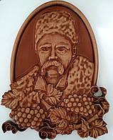 Резное панно с Тарасом Шевченко (портрет) 200х270х18 мм, фото 1