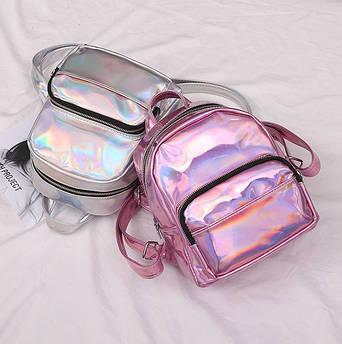 Женский детский голографический рюкзак