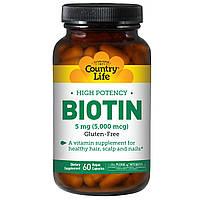Биотин, высокая эффективность, Country Life, 5 мг, 60 вегетарианских капсул