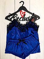 Женские пижамы, комплект майка и шорты с кружевом-электрик