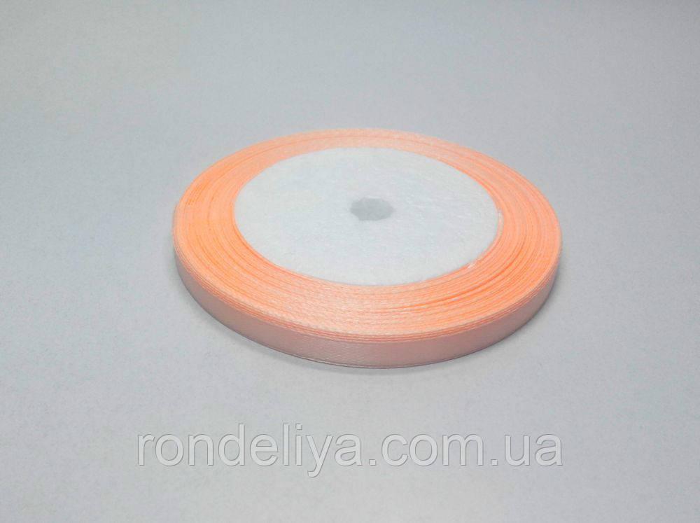 Стрічка атлас 0,6 см 23 метри абрикосова світла