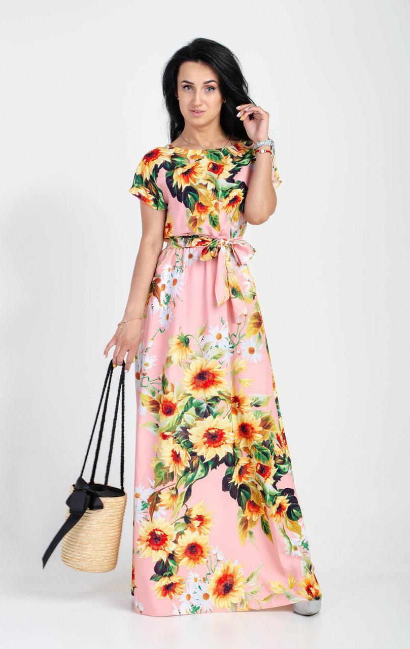 Изысканное платье из штапеля розовое