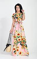 Изысканное платье из штапеля розовое, фото 1
