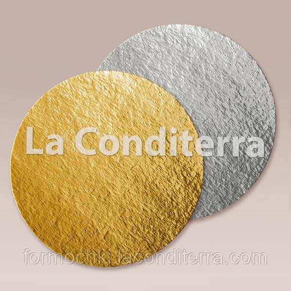 Подложка для торта двухсторонняя (золото/серебро), диаметр - 33,5 см