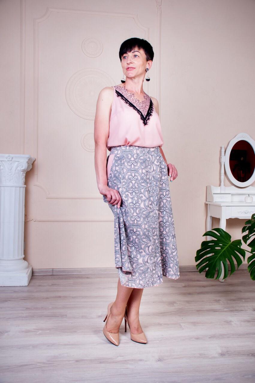 """Женская летняя юбка """"Годе-Тая"""" размеры 64-70"""