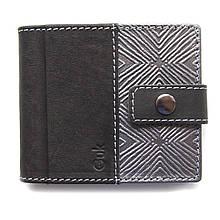 """Кошелек мужской кожаный на кнопке с карманом для монет """"SILVER"""" (Guk). Цвет черный"""