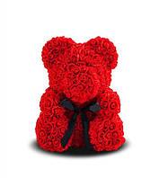 Мишка из роз красный из цветов