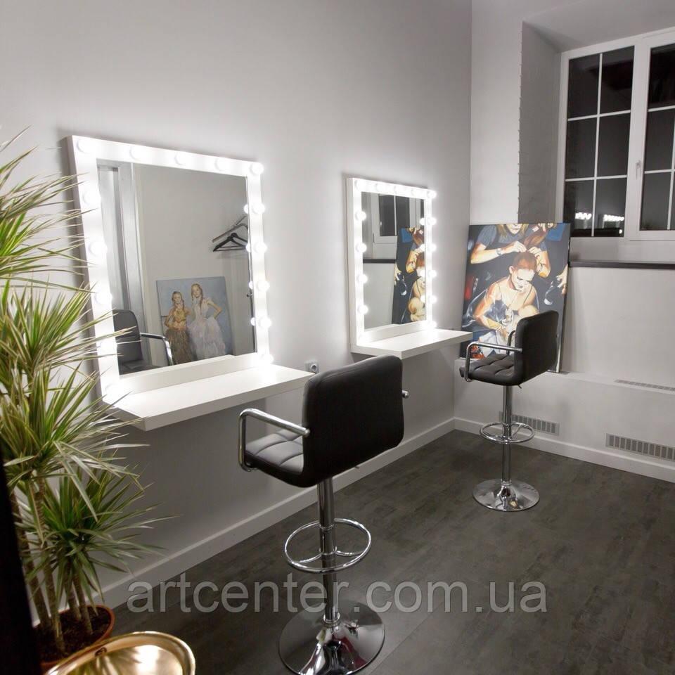 Навісне дзеркало з підсвічуванням з поличкою, навісний визажный стіл без ящиків