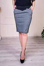 """Женская юбка """"Рита"""" клетка размеры 44-52, фото 2"""